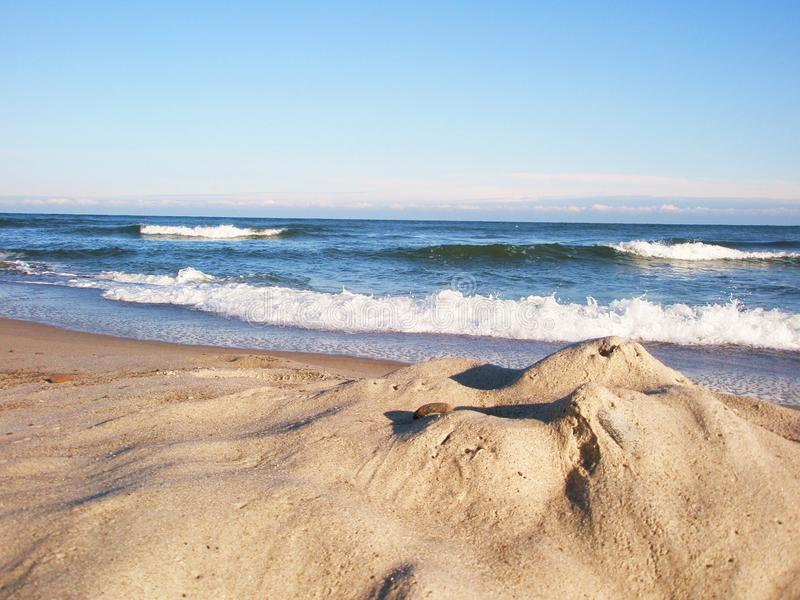 Sea sand and blue sky stock photography