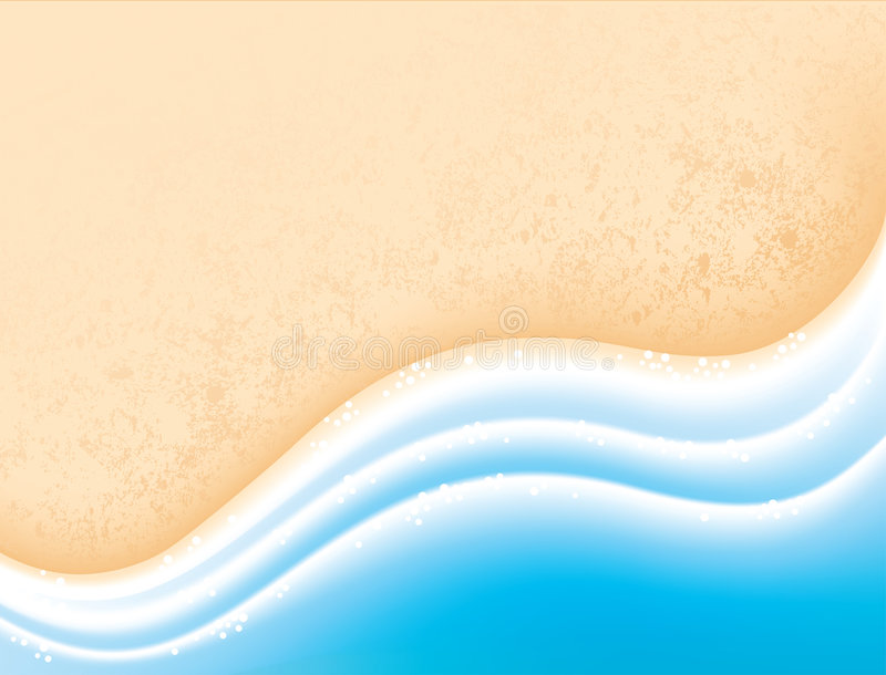 Sea sand and waves. Vacation concept background royalty free illustration