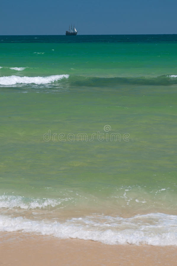 Sea-scape With Brigantine Royalty Free Stock Photography