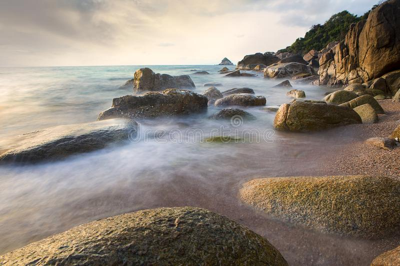Sea scape with long exposure photography style royalty free stock image