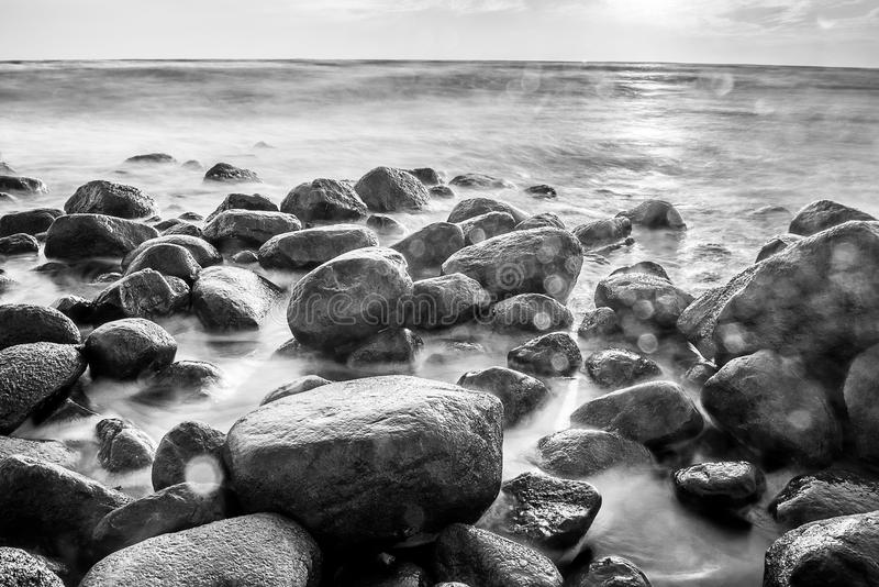 Sea scape with rocks stock images