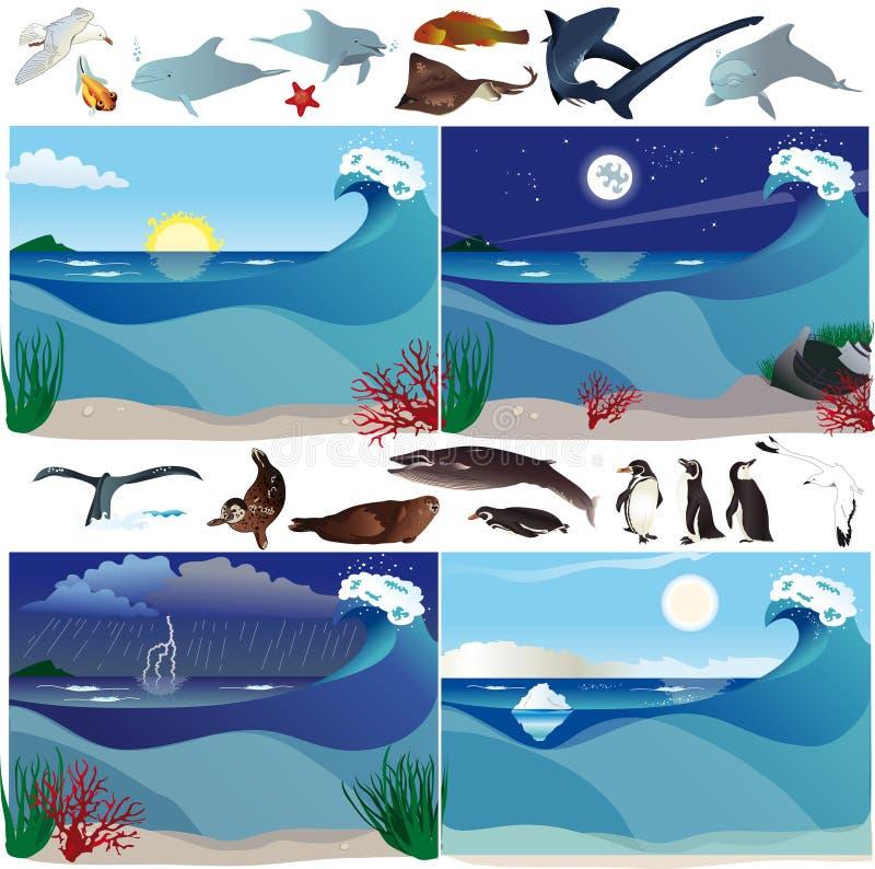 Download Sea scenarios and animals stock vector. Image of piguini - 25949347