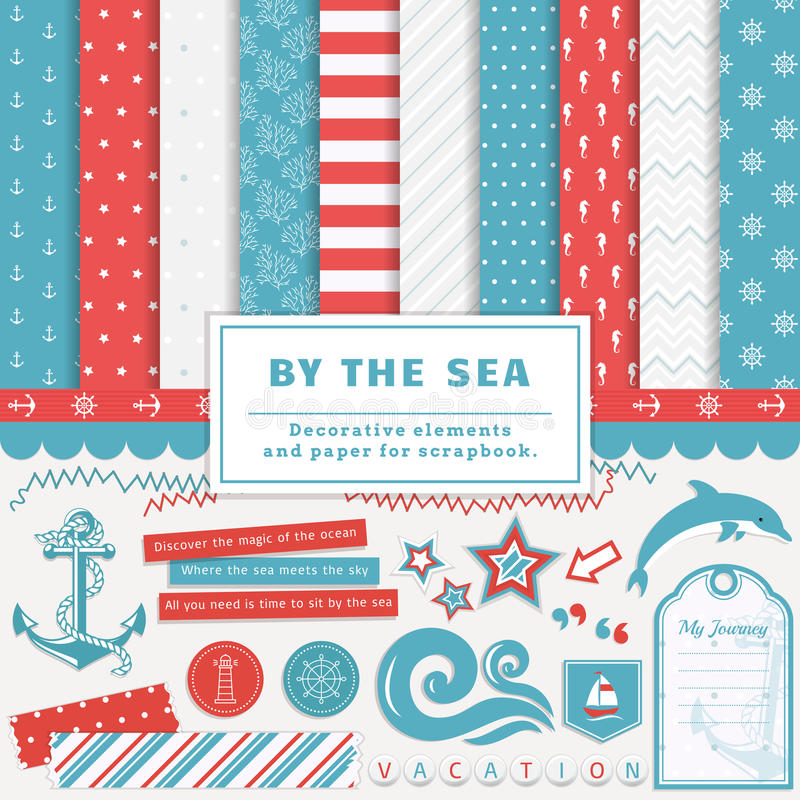 By the sea - scrapbooking kit. Sea scrapbooking kit. Collection of decorative elements and cute papers for creativity - to create scrapbook album or postcard in royalty free illustration