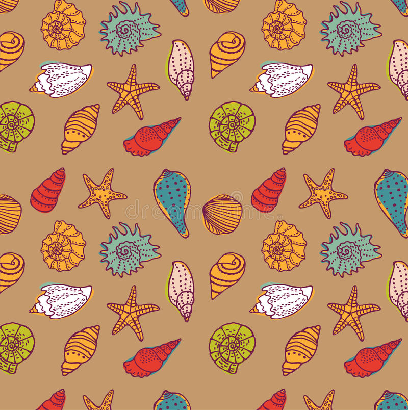 Sea seamless pattern. Vector illustration stock illustration