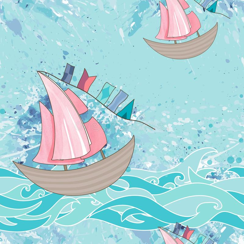 Sea seamless pattern stock illustration