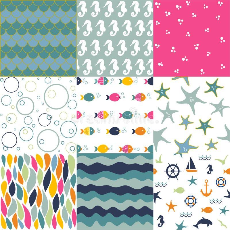 Sea seamless patterns, nautical design, marine elements. Vector illustration stock illustration