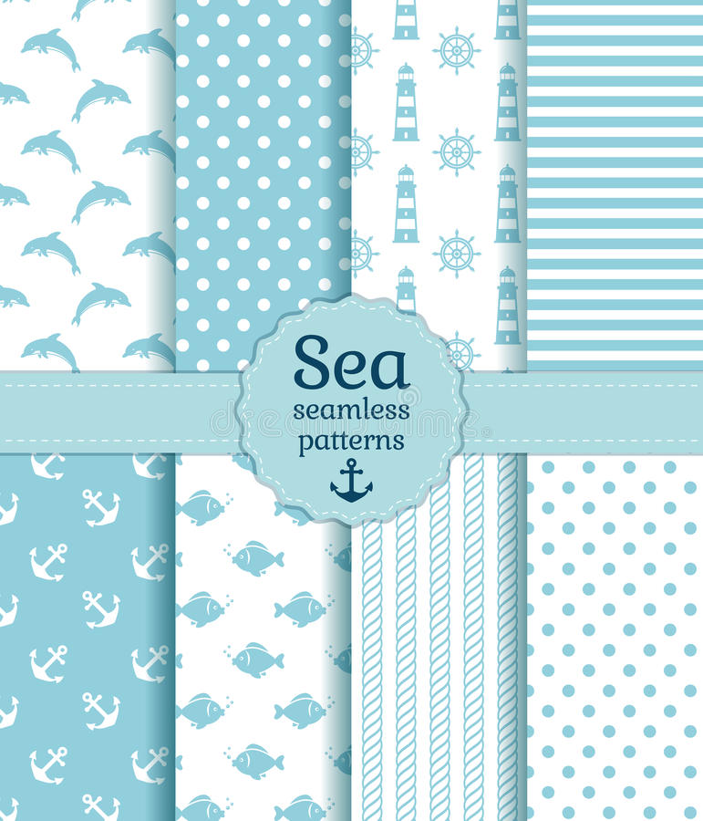 Free Sea Seamless Patterns. Vector Collection. Royalty Free Stock Photos - 39775018