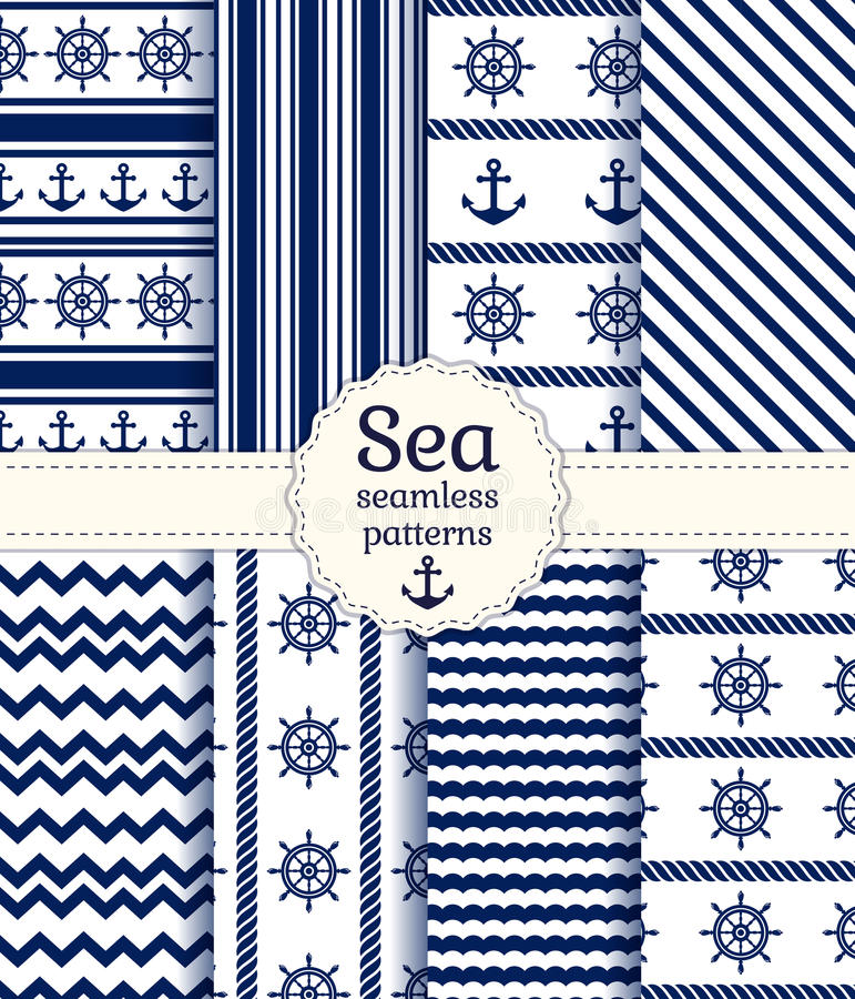 Sea seamless patterns. Vector collection. Set of sea and nautical seamless patterns in white and navy blue colors. Vector illustration