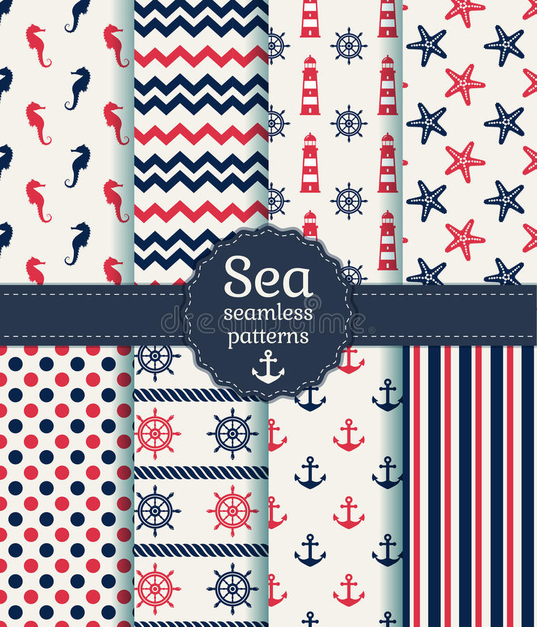 Sea seamless patterns. Vector collection. Set of sea and nautical seamless patterns in white, pink and dark blue colors. Vector illustration