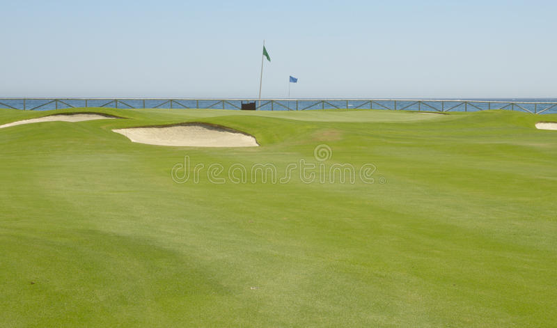 Sea Seen From The Golf Course Stock Photo