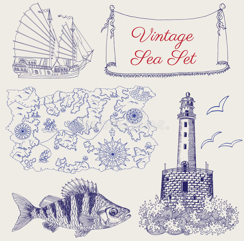 Sea set with pirate map, ship, light house and fish royalty free illustration