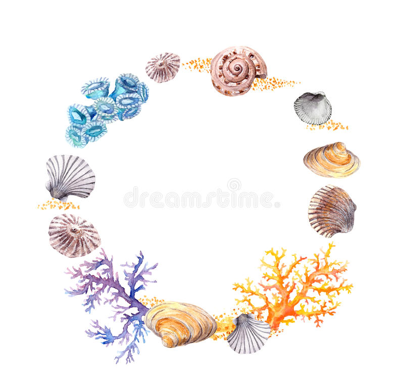 Sea shell, coral, sand. Summer beach wreath border. Watercolor stock photography