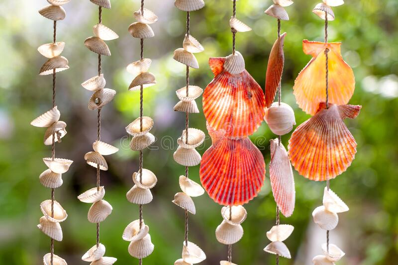 Sea shell hanging with bokeh background. The hanging curtains made of shells are crafts produced by skilled workers.  royalty free stock photo