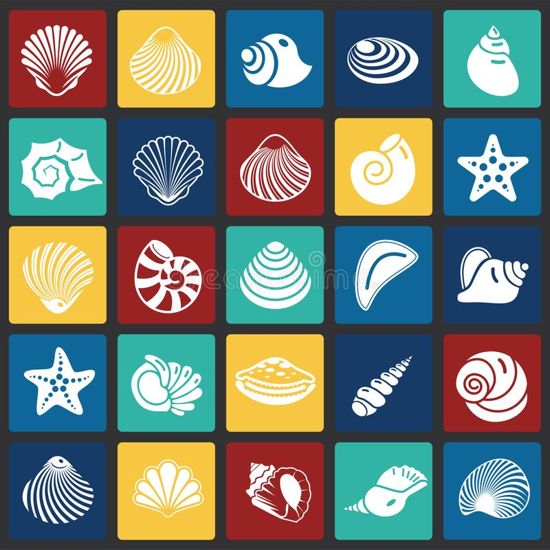Sea Shell icons set on color squares background for graphic and web design. Simple vector sign. Internet concept symbol stock illustration