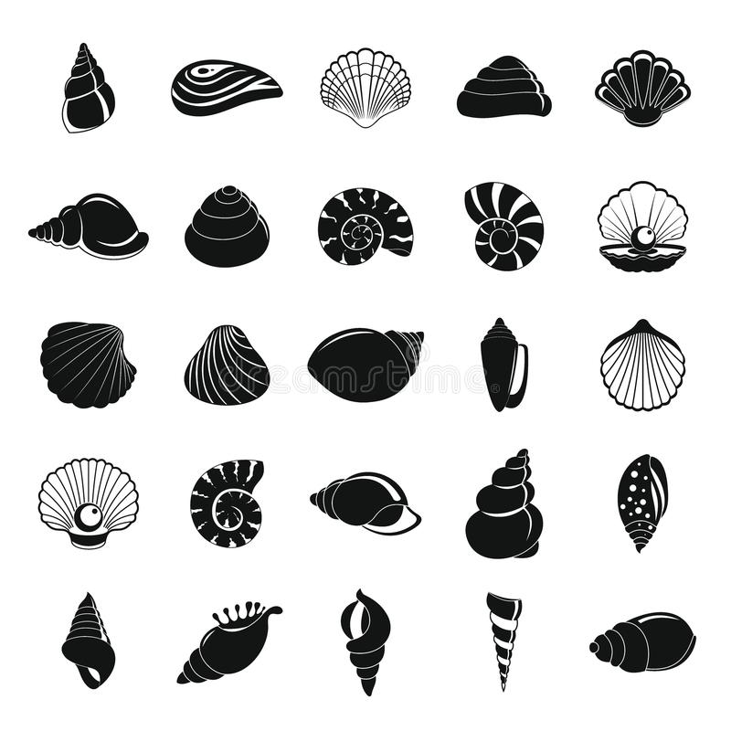 Sea shell icons set, simple style vector illustration