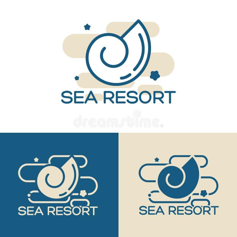 Sea shell logo set. Vector sea shell logo concept vector illustration