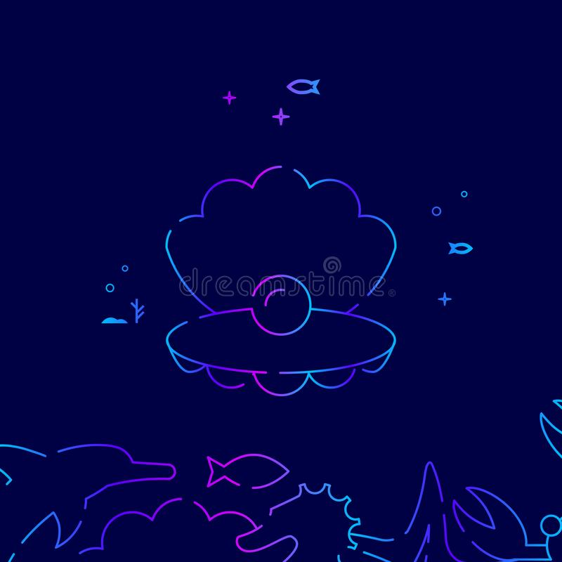 Sea Shell with Pearl Vector Line Icon, Illustration on a Dark Blue Background. Related Bottom Border royalty free illustration