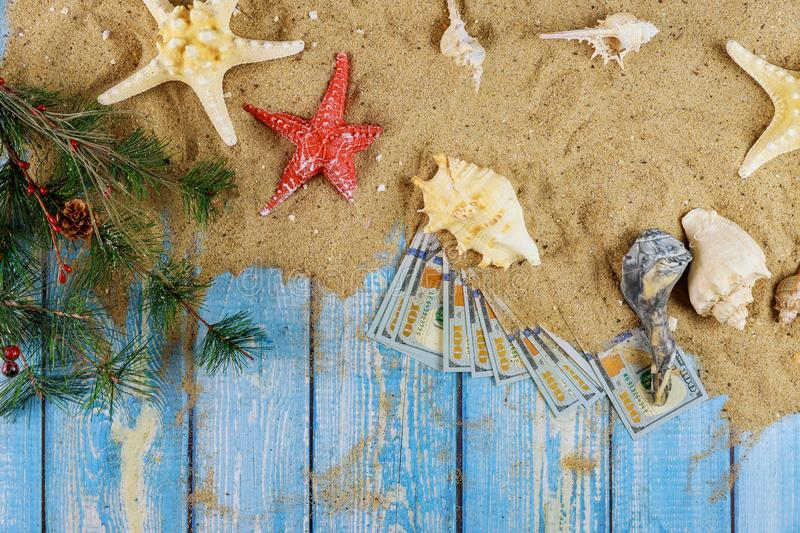 Sea shell on sand starfish summer winter vacation branch of Christmas tree on blue wooden with american hundred dollar bills. Sea shell on sand starfish summer royalty free stock images
