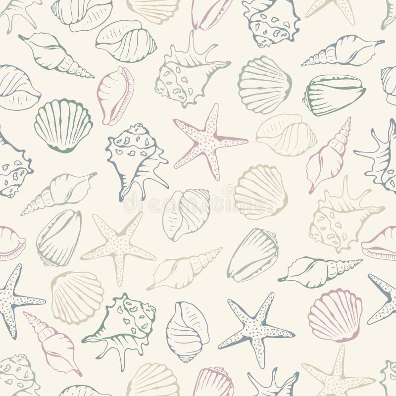 Sea shell seamless pattern. Vector illustration vector illustration