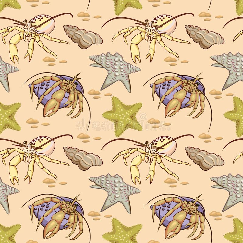 Sea shell star fish and hermit crab seamless pattern. stock illustration
