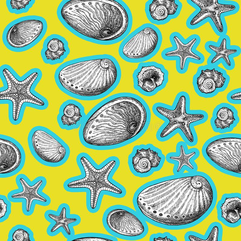 Sea shell and starfish, sea animal black and white pattern on yellow background. Sea shell and starfish, sea animal ink drawing black and white pattern with blue stock illustration