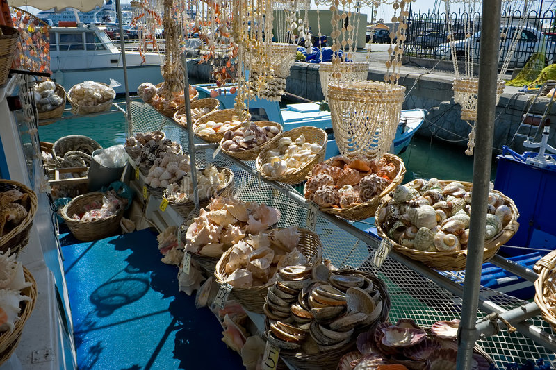 Sea shell store. On a ship in Rhodes, Greece royalty free stock photography