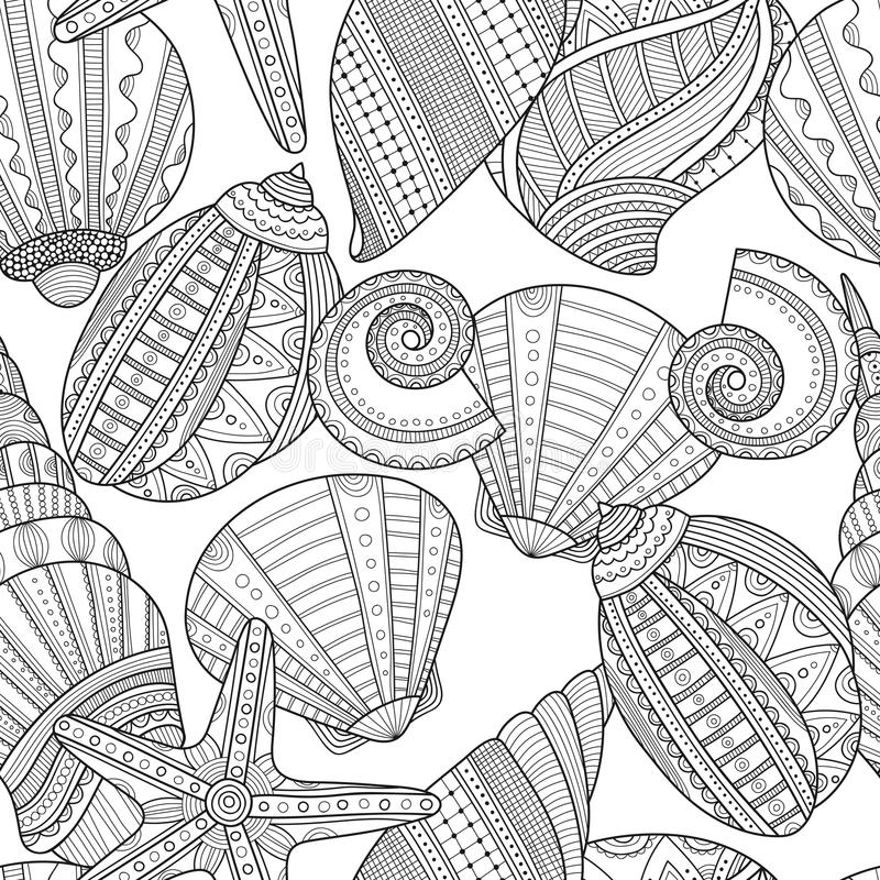 Sea shells. Black and white seamless pattern for coloring book. Pages. Vector illustration stock illustration