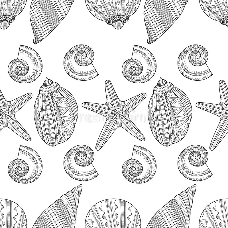 Sea shells. Black and white seamless pattern for coloring book,. Pages. Vector illustration stock illustration