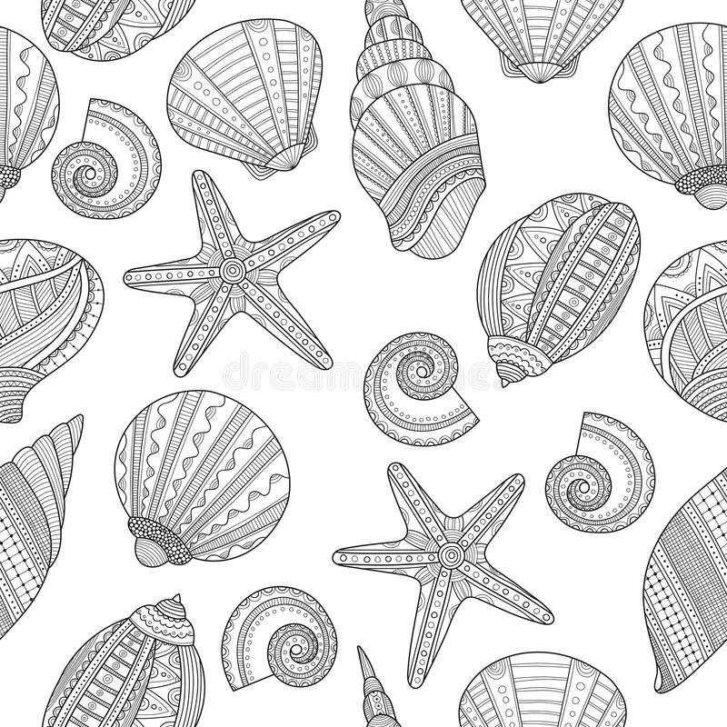 Download Sea Shells Black And White Seamless Pattern For Coloring Book Stock Vector