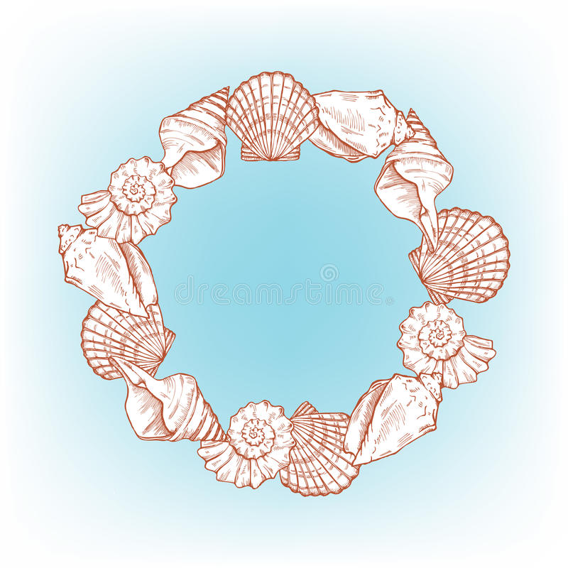 Sea shells frame royalty free illustration