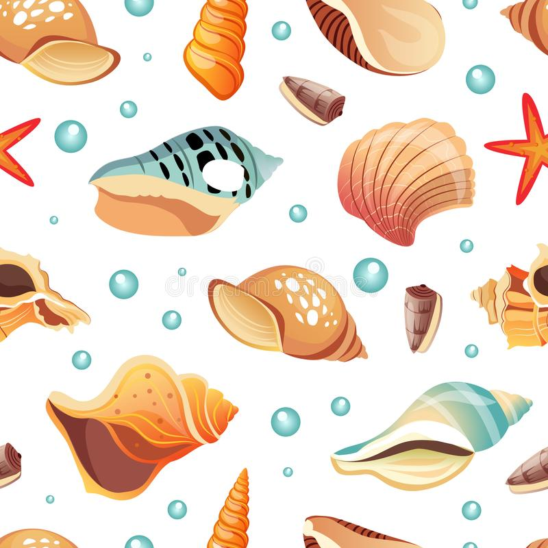 Sea Shells Seamless Pattern, Summertime Design Element Can Be Used for Fabric Print, Wallpaper, Packaging, Vector stock illustration