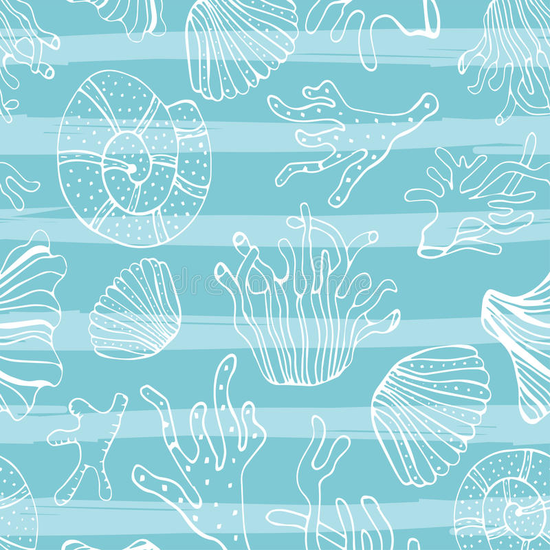 Download Sea Shells Seastars And Corals Seamless Background Blue White Pattern For Coloring Book