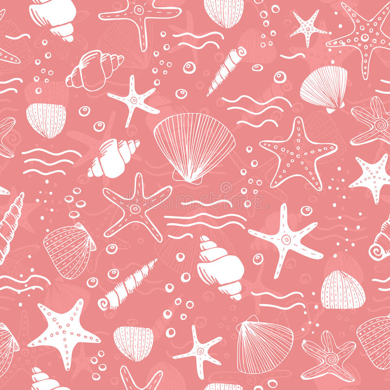 Sea shells, seastars and corals seamless background. Pink seamless pattern for coloring book, textile, print, wallpaper. Sea life pattern stock illustration