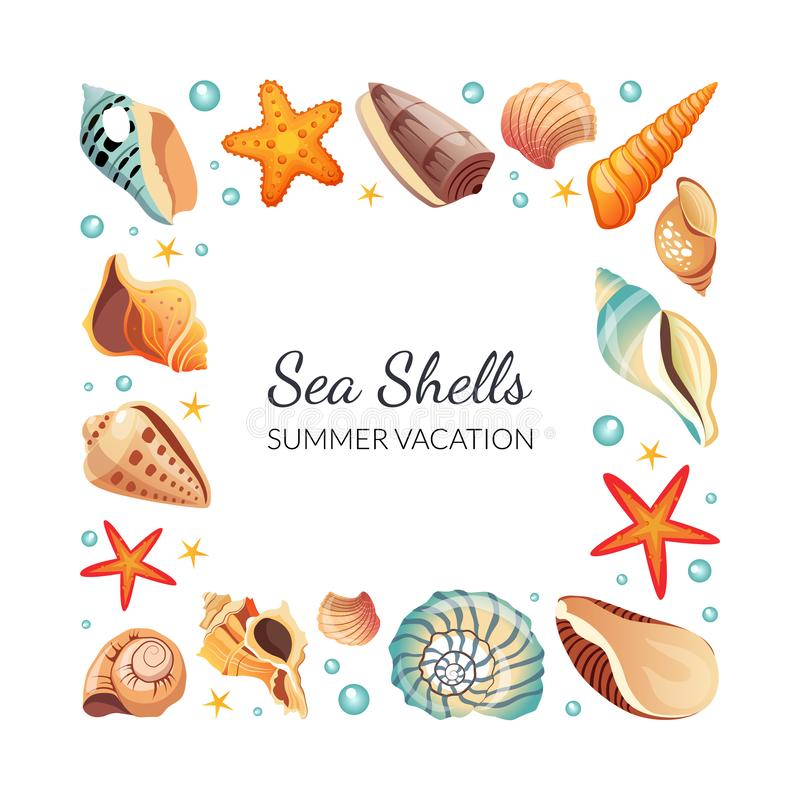 Sea Shells Square Frame, Seashells Border Template with Space for Text, Summertime Banner Vector Illustration vector illustration