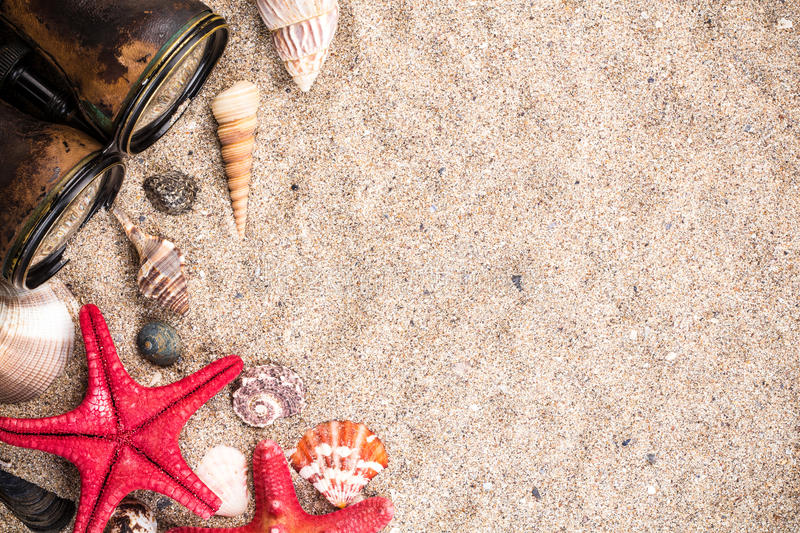 Download Sea Shells With Starfish Binocular Wallpaper Stock Image