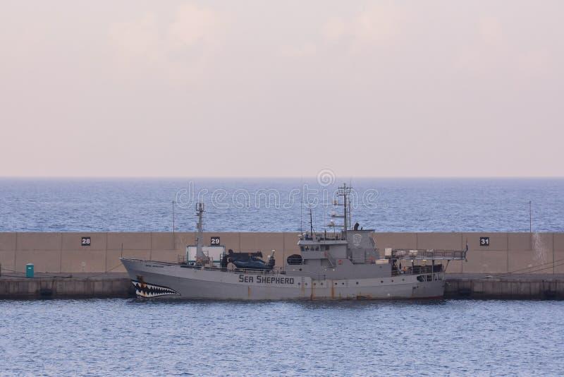 Sea shepard boat in las palmas de gran canaria spain on date 12 october 2016. Editorial picture sea shepard boat in las palmas de gran canaria spain on date 12 stock images