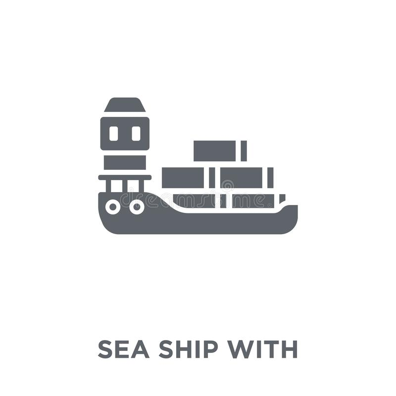 Sea ship with containers icon from Delivery and logistic collect. Sea ship with containers icon. Sea ship with containers design concept from Delivery and stock illustration