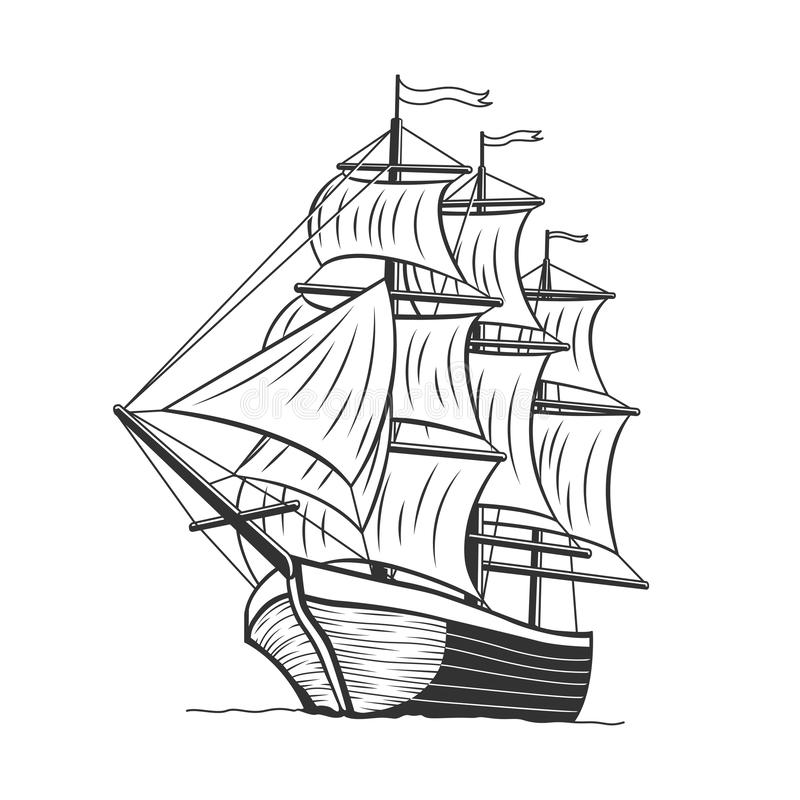 Sea Ship, Sail Boat in the Sea. Vintage Wind Ship Transportation and Travel royalty free stock images