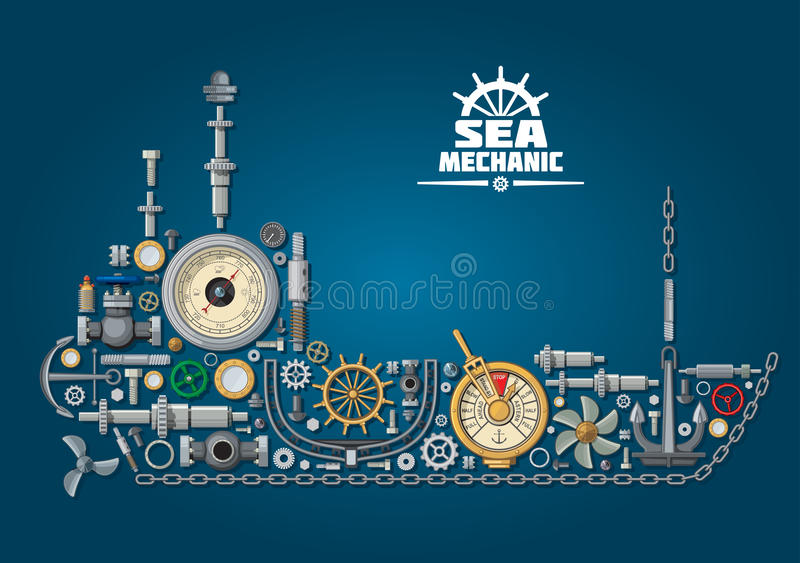 Sea ship silhouette with nautical equipment royalty free illustration