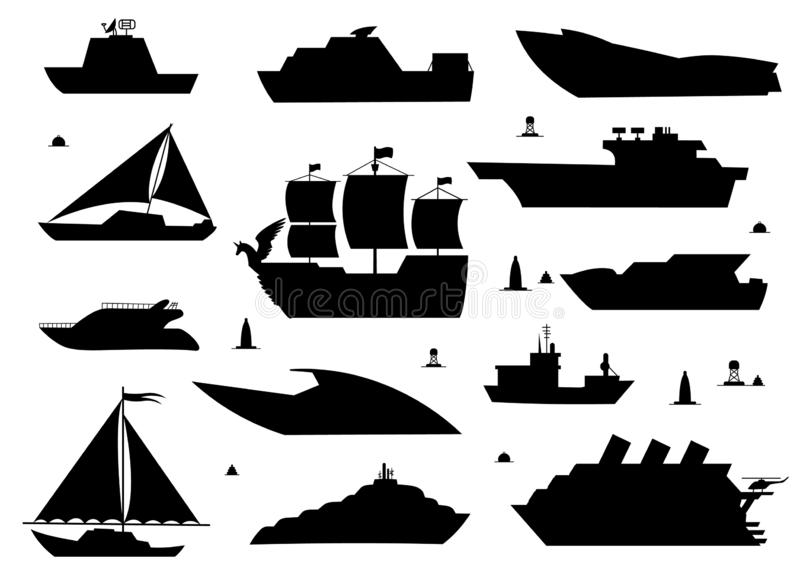 Sea ship silhouettes. Boats adapted to the open sea for coastal shipping, trade and travelling. Vector flat style. Cartoon illustration isolated on white stock illustration