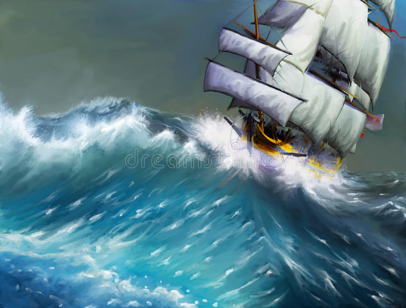 The sea, the ship stock illustration