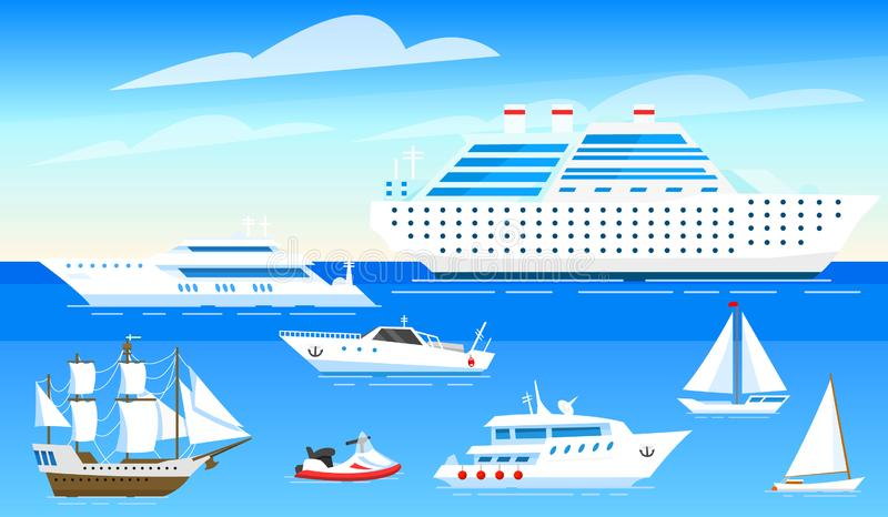 Sea ships background. Set of sailboats and boats sailing on blue water. Transport sailors for world travel. Summer vector illustration