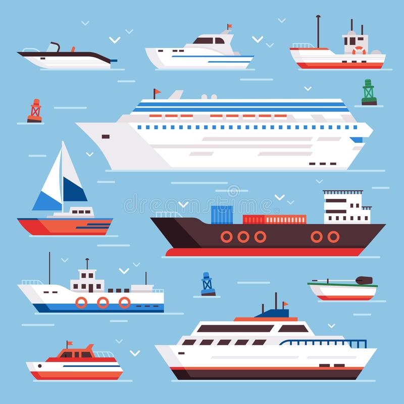 Sea ships. Cartoon boat powerboat cruise liner navy shipping ship and fishing boats isolated front view vector stock photos