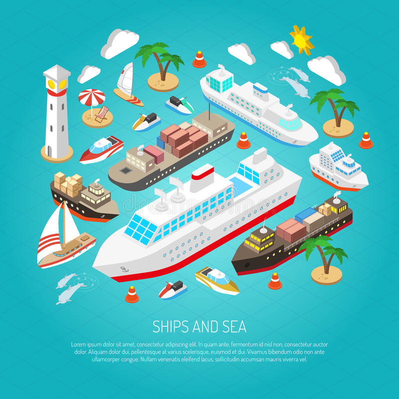 Sea and ships concept royalty free illustration