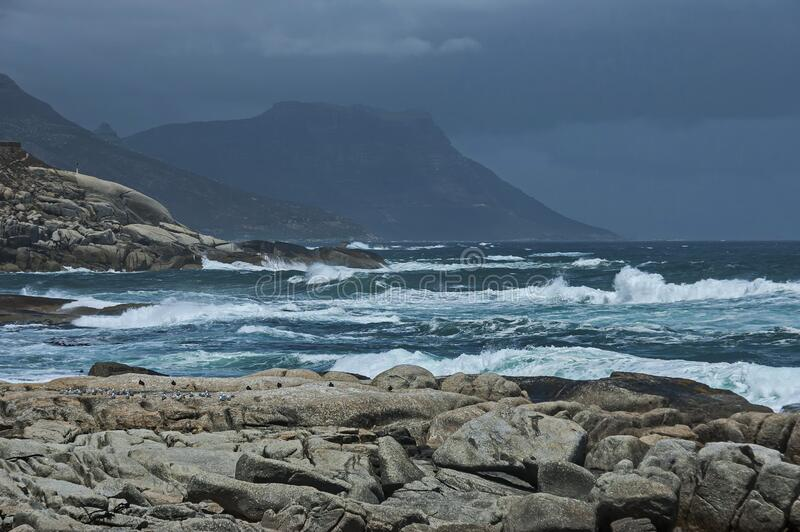 Sea shore on Atlantic oceav by Cape Town stock image