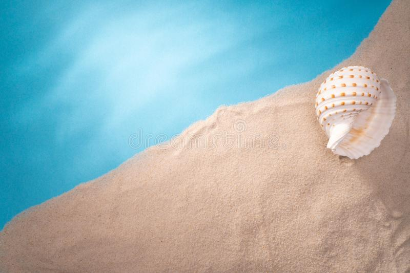 Sea shore, card for a travel agency, sand shell, blue ocean, sun vacation stock image