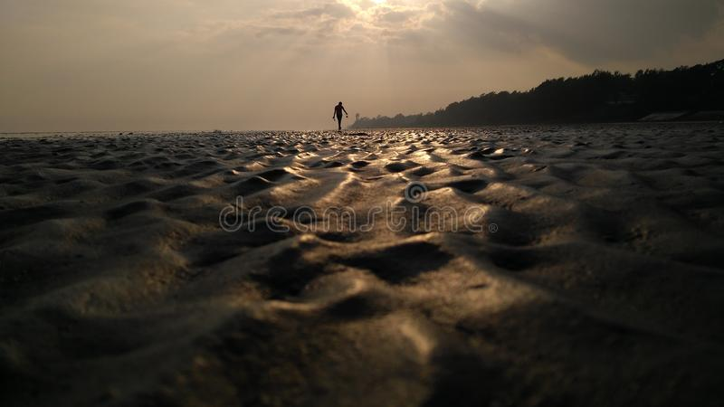 Sea shore evening site. The best moment when you click a picture of sunset on a sea shore and admire it royalty free stock photography