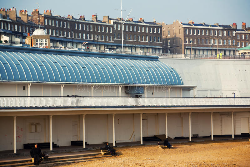 Sea shore in Ramsgate. Beach and classic British architecture buildings royalty free stock photography