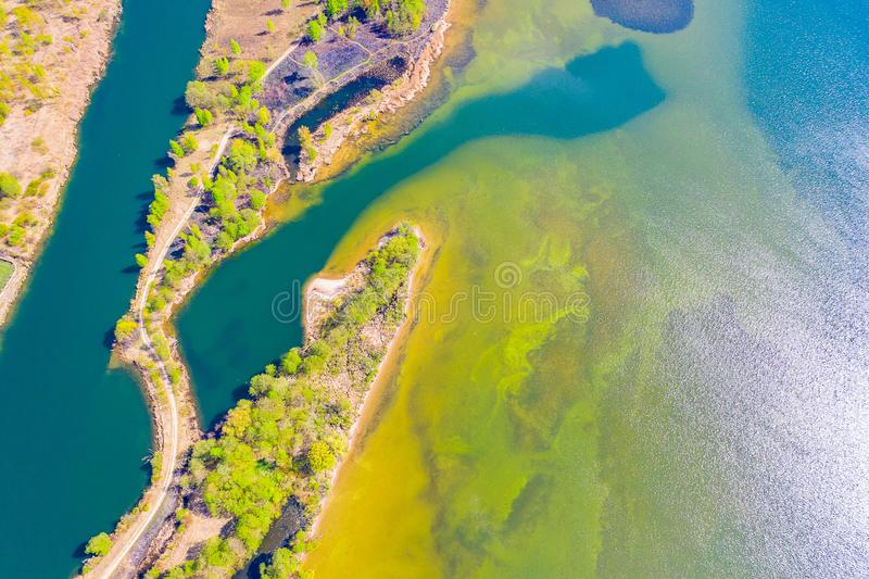 Sea shore on sunny day aerial landscape. Marine texture stock photography