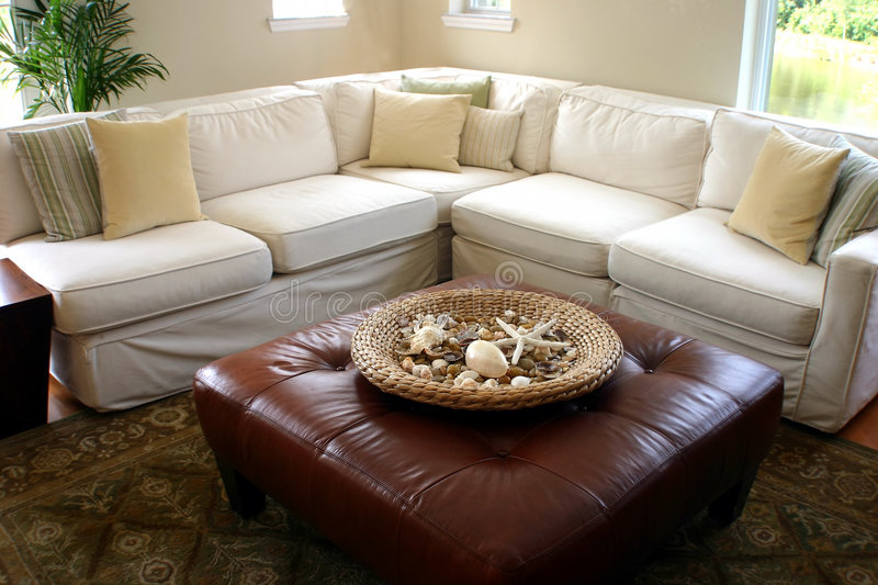 Download Sea Side Cottage Living Room Stock Image - Image of contemporary, leather: 2421207